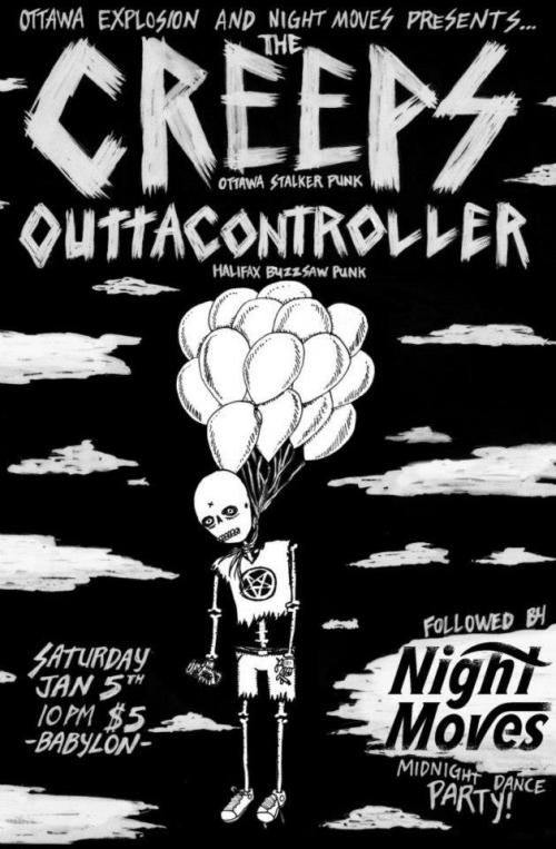 Saturday, January 5th - 10pm $5 Ottawa Explosion & Night Moves present The Creeps & Outtacontroller