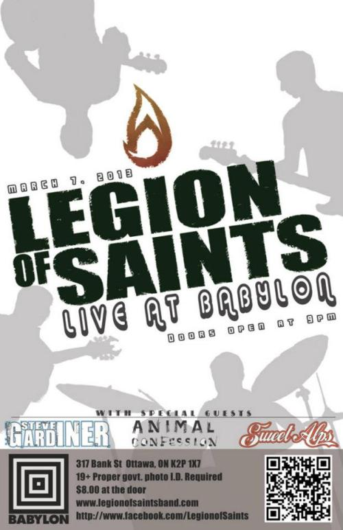 Thursday, March 7th - 9pm $8 Legion of Saints, Steve Gardiner, Animal Confession & Sweet Alps