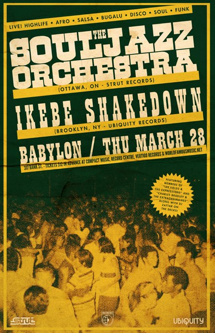 Thursday, March 28th - 10pm $12 adv The Souljazz Orchestra, Ikebe Shakedown & DJ Zattar