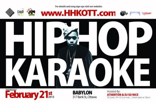 Thursday, February 21st - 10pm $5 HIP HOP KARAOKE w/ Atherton & DJ So Nice