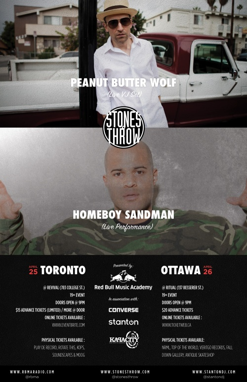 PEANUT BUTTER WOLF & HOMEBOY SANDMAN (STONES THROW) - Live at RITUAL - Sat, Apr 26, 2013