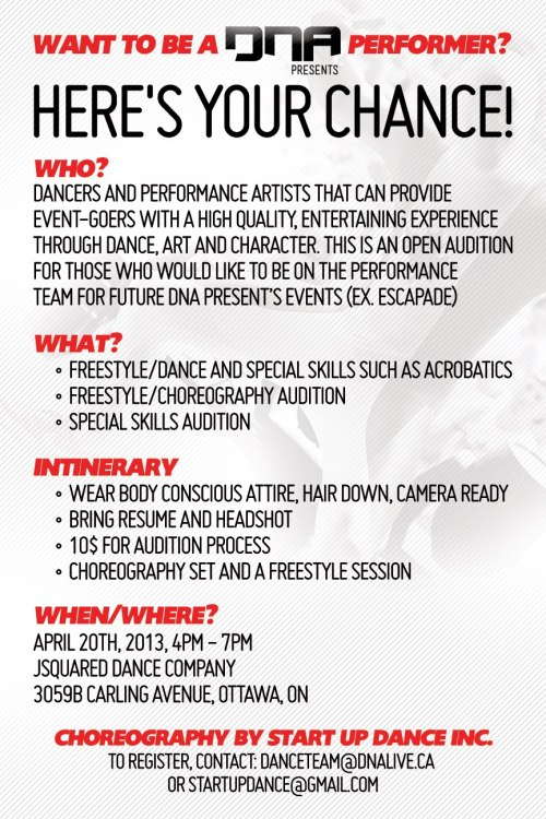 Audition for DNA Presents Performance Cast