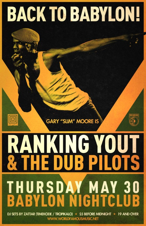 BACK TO BABYLON | Ranking Yout and the Dub Pilots + Zattar | Thursday, May 30 | Babylon Nightclub, OTTAWA
